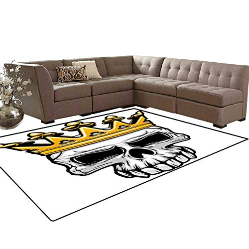 King Queen Size Bath Mats for Floors Hand Drawn Crowned Skull Cranium with Coronet Tiara Halloween Themed Image Floor Mat Pattern 5