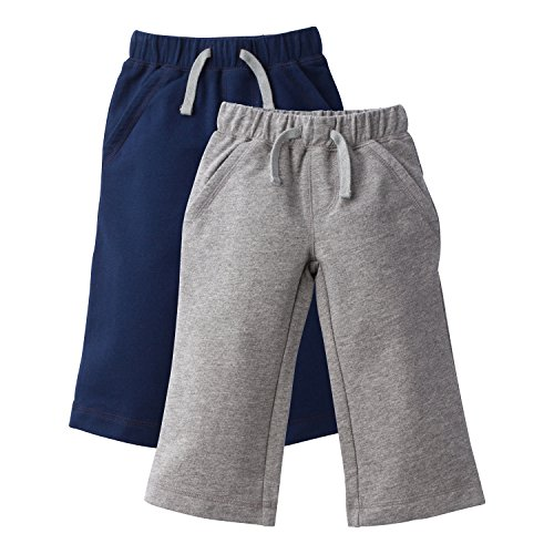 Gerber Graduates Baby Toddler Boys' 2 Pack French Terry Pant, Navy/Gray, 5T