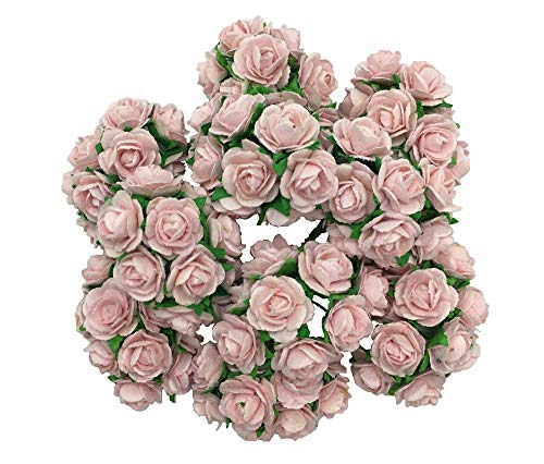 100 Sweet Pink 10mm Artificial Mulberry Paper Rose Flower Wedding Scrapbook DIY Craft Scrapbook Scrapbooking Bouquet Craft Stem Handmade Rose Valentines Anniversary Embellishment by WADSUWAN SHOP.