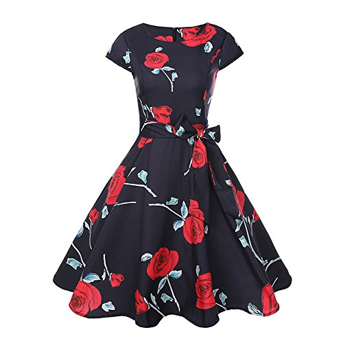 Birdfly Summer Nine Type Women Black & White Vintage Hepburn Style Flower & Leaves PrintBeam Waist Ball Gown Dress (L, Red(45)) from Birdfly