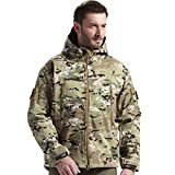 FREE SOLDIER Men's Tactical Jacket Waterproof Army Military Hooded Jacket Softshell Autumn Winter Jacket (CP Camouflage L)