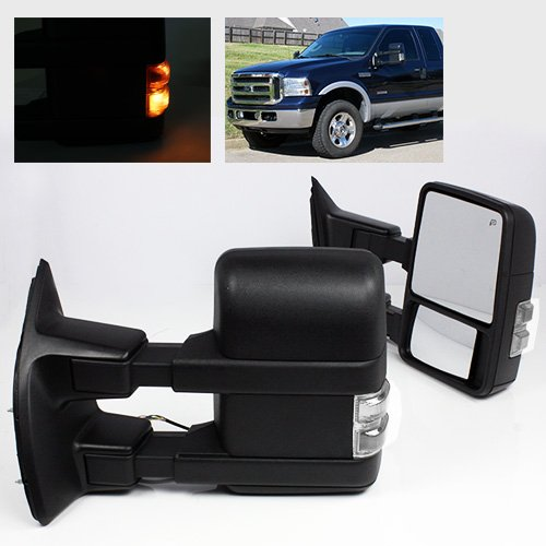 ModifyStreet Extendable Towing Mirrors with Heated Defrost & Clear LED Turn Signal Light for 1999-2002 Ford F250/F350/F450/F550 Super Duty or 2000-2002 Ford Excursion - 1 Pair -