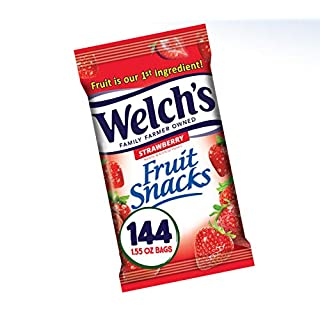 Welch's Fruit Snacks, Strawberry, Gluten Free, Bulk Pack, 1.55 oz Individual Single Serve Bags (Pack of 144)