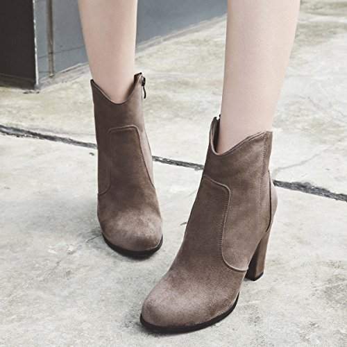 Boot wetkiss Ankle Female Big Ladies Round Zipper Spring Women Flock Winter 43 Boots Side Toe Size Arrival 34 Khaki Heels Boots 2018 High New rqwCIxOr7