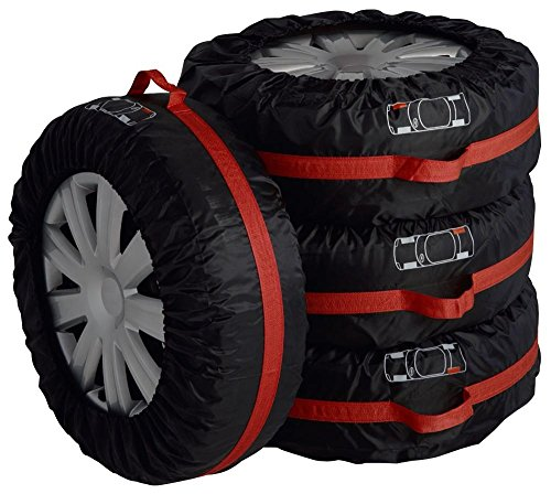 4 PCS Black&Red Nylon Car 16''-22'' Wheel Tire Tyre Protection Cover Storage Bag by Generic