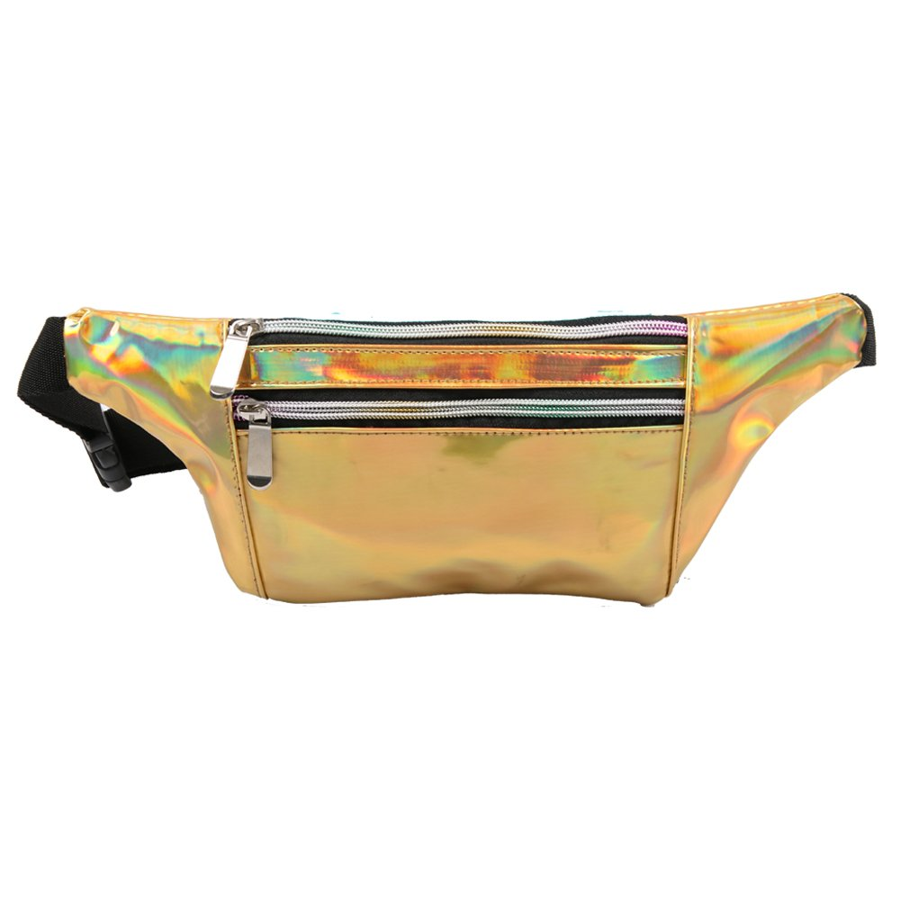 MUM'S MEMORY Metallic Hologram Fanny Pack for Women and Men- Sport Waist Pack for Running, Hiking, Traveling, Camping, Partying, Jogging (Gold)