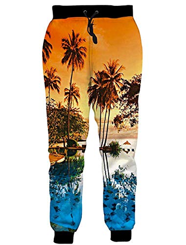 RAISEVERN Unisex Jogger Pants Hawaiian Sweatpants Coconut Tree Sportswear Tropical Sunset Gym Trousers with Pocket for Men &Women