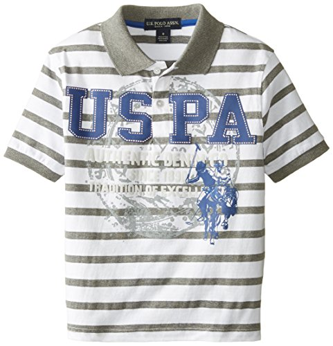 U.S. Polo Assn. Big Boys' Striped Jersey Logo Print Polo, Medium Heather Gray, 10/12 -