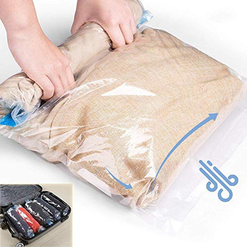NovoLido Travel Space Saver Bags (10 Packs), 3 Sizes (L-M-S) of Airtight Compression Bags Travel Storage Bags, No Vacuum Pump Needed, Reusable Packing Sack Organizers for Travel Home - Sack Compressor