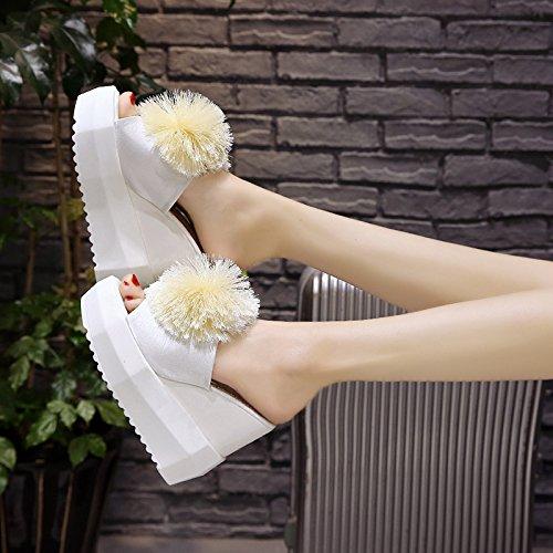 Impermeabili Scarpe Piattaforma Drag white da Le Cm Tacco Super Pantofole donna Signore Forte Basso 13 Estate Pantofole Spessa Pendio GTVERNH Tacco Voce 0d718xd
