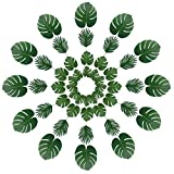 Vivifying 48 Pcs 2 Kinds Artificial Palm Leaves, Fake Tropical Leaves for Luau Decorations, Hawaiian Party, Wedding (Green)