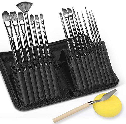 VIKEWE Professional Paint Brushes Set – 16 PCS Paint Brush with Oil Painting Knife and Sponge, Suitable for Acrylic…