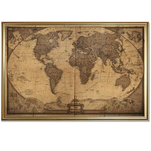 - World Travel Map Wall Art Collection Executive National Geographic World Travel Map Fine Giclee Prints Framed Wall Art with Push Pin, Ready to Hang, 20X28, Dark Vintage with Gold