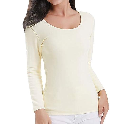 9b6943d465 Women s Long Sleeve Thermal Underwear Basic Low Neck Thin Baselayer ...