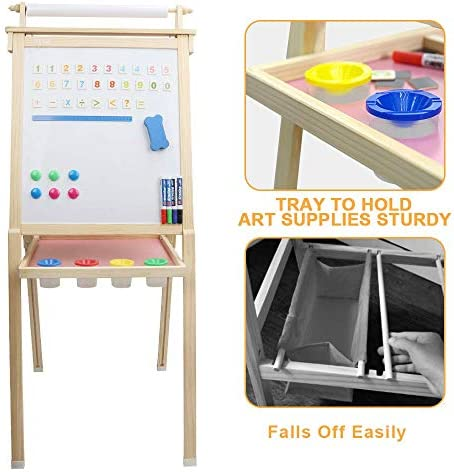 Kids Art Easel With Paper Roll, Dripex Double Sided Toddler Children Easel Chalkboard And Magnetic Dry Erase Board For Kid Painting And Drawing, Multiple Kids Art Supplies Oak
