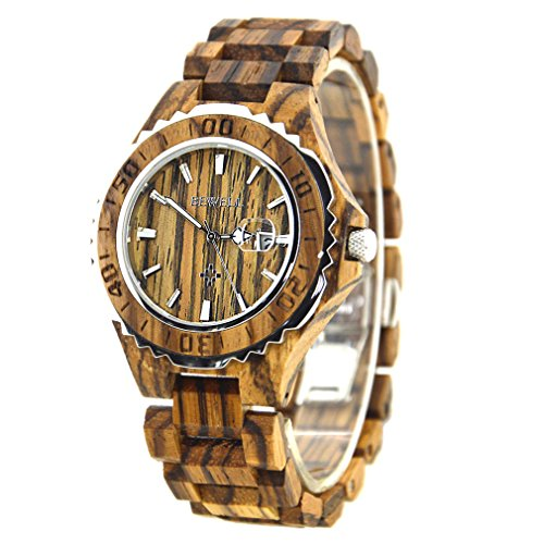 BEWELL Wooden Watches with Calendars Waterproof Quartz Chairs Round Table Light Weight Retro Fashionable Sandalwood Watch for Men (Zebra Wood, Man)