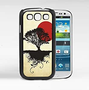 linJUN FENGAsian Sunrise with Black Tree and Bright Red Sun Hard Snap on Cell Phone Case Cover Samsung Galaxy S3 I9300