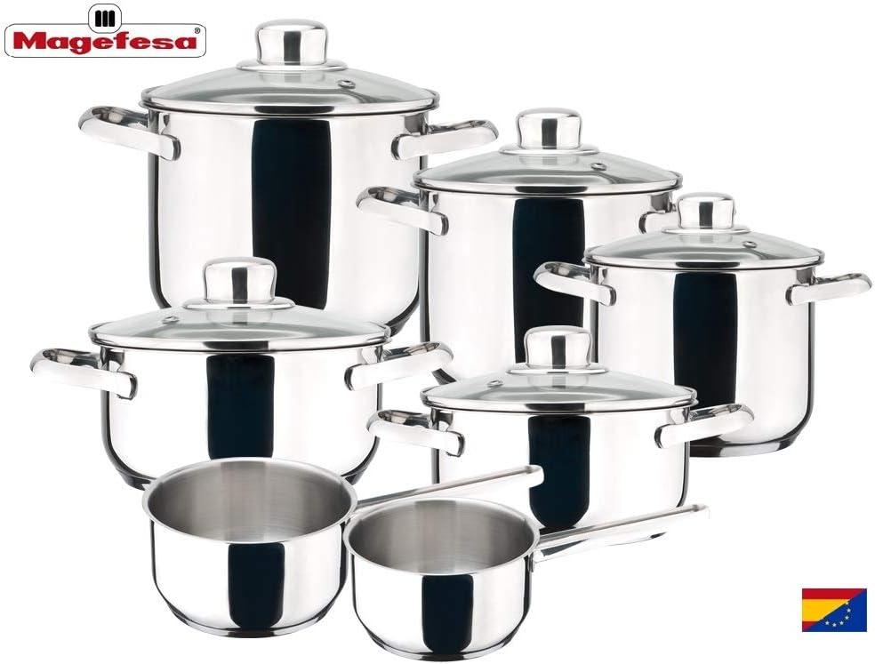 MAGEFESA Dux – Batería de Cocina MAGEFESA Dux 12 Piezas está Fabricada en Acero Inoxidable 18/10, Compatible con Todo Tipo de Fuego. Fácil Limpieza y Apta lavavajillas.: Amazon.es: Hogar