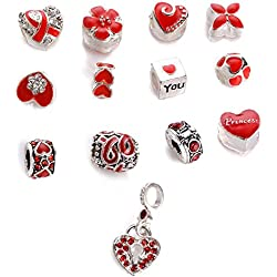 Yeshan 12pcs Antique Silver Plated Crystal Rhinestone Bead Charm Spacer with a Snake Chain Charm Bracelet Free and Red Hearts and Flowers Style Fit All Pandora Bracelets Valentine's Day Gifts Idea
