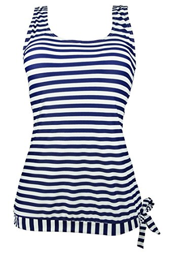 Cocoship Blue & White Striped Sailor Inspired Adjustable Tie Swim Top U-Neck Beach Tankinis Swimwear 10(FBA)