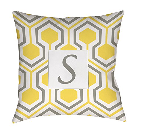Manual Woodworker & Weavers Square Indoor/Outdoor Pillow, 20-Inch, Monogrammed Letter S, Yellow Honeycomb