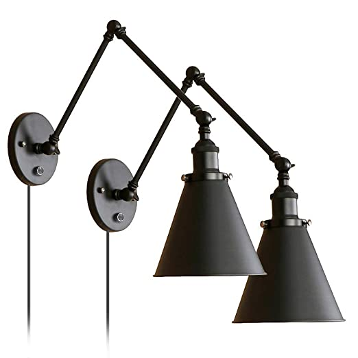 Industrial Black Wall Light  Plug In Adjustable Arm With On/Off Switch For Bedroom Wall Sconce Fixture Metal Plug In Wall Lamp Set Of 2 by A Giftable