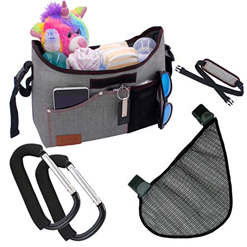 Universal Stroller Organizer with Cup Holders - Mesh Stroller Organizer and Stroller Hooks Included - Convenient Stroller Accessories for Moms and Dads - Toddler/Baby Stroller Accessories Organizer