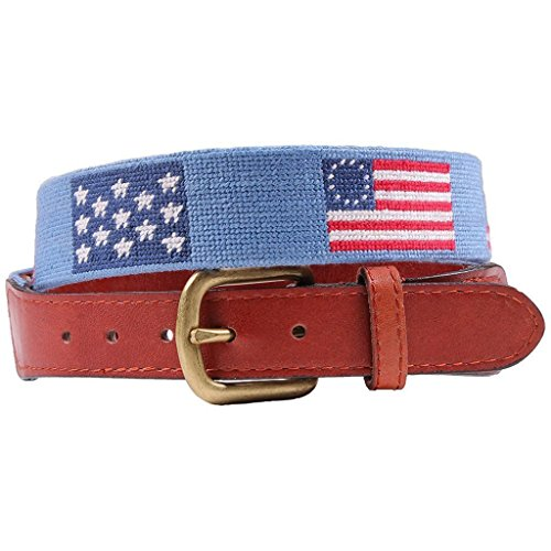 Flags of our Fathers Needlepoint Belt in Antigua Blue by Smathers & - Flag Needlepoint