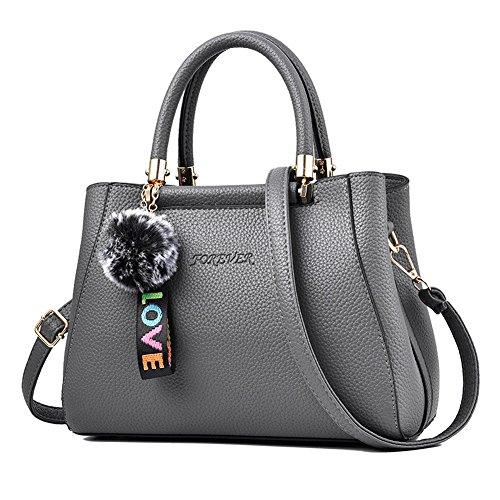 RUIREN Ladies Messenger Bag Handbag, Bolsos de Hombro Multifuncionales Portátiles para Mujeres Gris