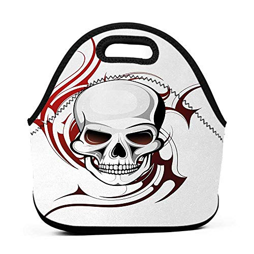(Large Size Reusable Lunch Handbag Tattoo,Scary Fierce and Wild Skull with Red Flames Tribal Artistic Tattoo Image Design,Red and White,ohio state lunch bag for)
