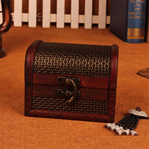 Clearance,Jewelry Box Vintage Wood Box with Mini Metal Lock for Storing Pearl,Hot Sale Organizer Box (Brown)