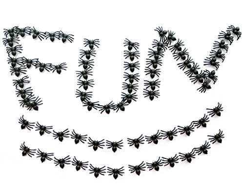 (Newprous Fake Spiders Toys Funny Prank Halloween Plastic Insect Decorations Party Favor Small Bug Gag and Practical Joke Toys Black)