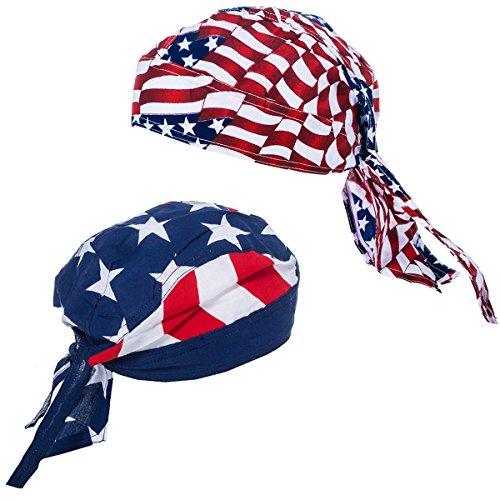 American Flag Durag - 2 Pack USA Doo Rag - Dew Rags for Men - Patriotic Skull Caps by (Flag Doo Rag)