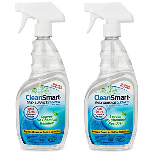 CleanSmart Daily Surface Cleaner for the Bathroom, 23 ounce Spray (Pack of 2), Kills 99.9% of Bacteria, Viruses, Germs, Mold, and Fungus