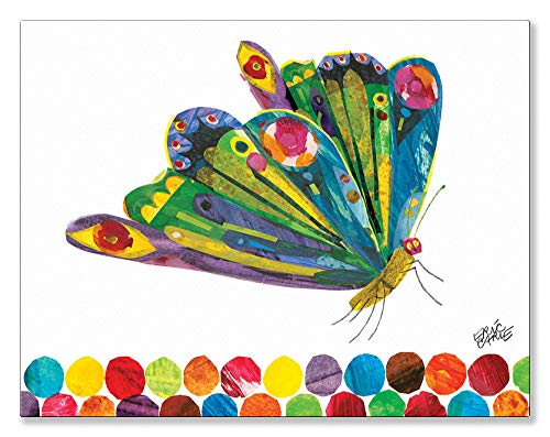 (Oopsy Daisy Eric Carle's Fluttering Butterfly Canvas Wall Art, 18x14, Multi)