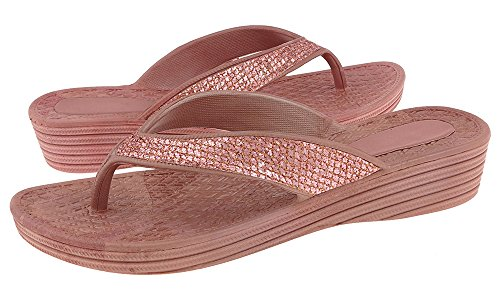 Capelli New York Mesh Faux Leather Thong Ladies Flip Flop Rose Gold 8 Glitter Wedge Sandals