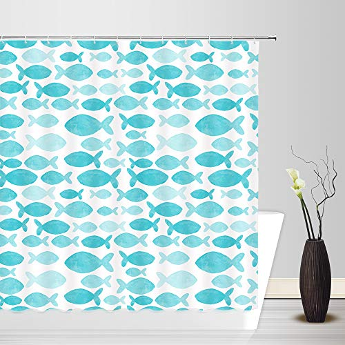 (dachengxing Ocean Fish Shower Curtain Pop Art Decor Different Size Fish Horizontal Geometry Abstract Picture Creative Design Waterproof Turquoise White Fabric Bathroom Hooks Included 70x70 Inch)