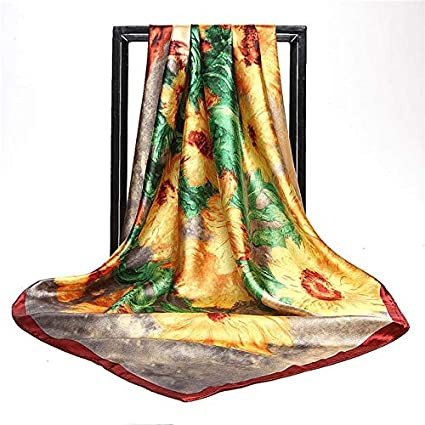 38710fdfe Fashion Sunflower Oil Painting Satin Head Square Scarf Women Imitated Silk  Scarves Luxury Large Size Shawl Wraps Hijab : Yellow, 90 X 90 cm:  Amazon.in: Home ...