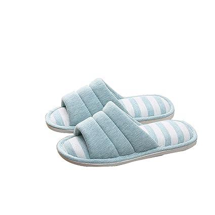 WANGXN Ladies Linen Soft Warm Base algodón Zapatillas interior plana tacón bajo antideslizante zapatillas oto?