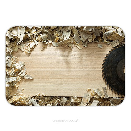 Flannel Microfiber Non-slip Rubber Backing Soft Absorbent Doormat Mat Rug Carpet Carpenter Tools On Wooden Table With Sawdust Carpenter Workplace Top View 281426363 for - Saw Grass Ford