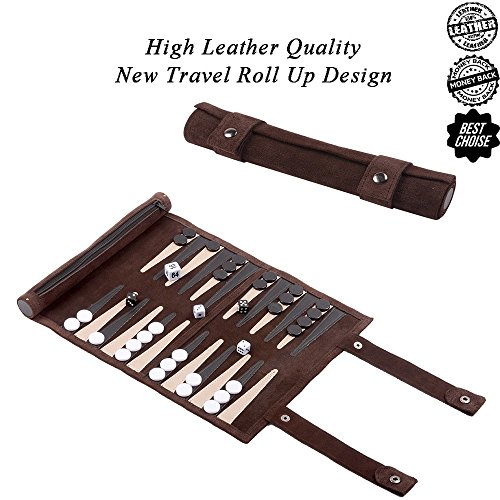 Leather Backgammon Set Travel Backgammon Board Game Roll Up Design (new brown) (Games Board Up Roll)