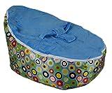 BayB Brand Baby Bean Bag - Filled - Ready to Use - Blue Circles