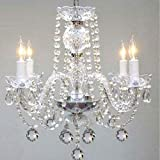 Murano Venetian Style All Crystal Chandelier H17″ x W17″ SWAG PLUG IN-CHANDELIER W/ 14′ FEET OF HANGING CHAIN AND WIRE!