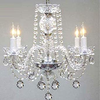 Murano Venetian Style All Crystal Chandelier H17 x W17 SWAG PLUG IN-CHANDELIER W 14 FEET OF HANGING CHAIN AND WIRE