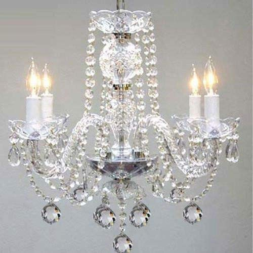 Murano Venetian Style All Crystal Chandelier H17 X W17 Swag Plug In Chandelier W 14 Feet Of Hanging Chain And Wire