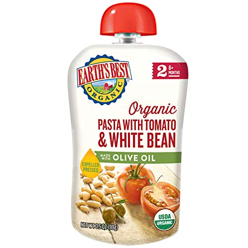 Earth's Best Organic Stage 2 Baby Food, Pasta with Tomato/White Bean with Olive Oil, 12 Count (Best Pasta For Babies)