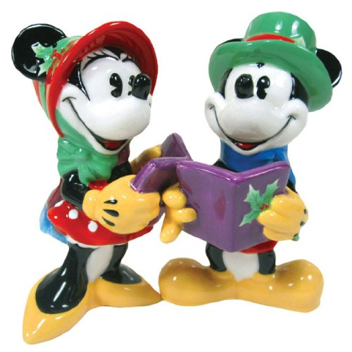 Westland Giftware Magnetic Ceramic Salt and Pepper Shaker Set, 3.75-Inch, Disney Mickey and Minnie Caroling, Set of 2