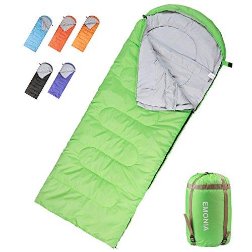 - EMONIA Camping Sleeping Bag,3 Season.Waterproof Outdoor Hiking Backpacking Sleeping Bag Perfect for Traveling,Lightweight Portable Envelope Sleeping Bags for Adults,Girls and Boys