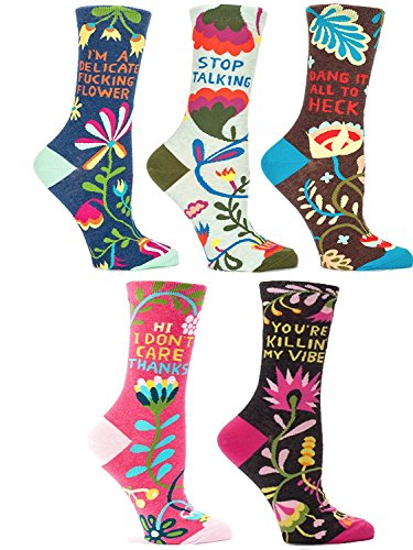 Blue Q Socks, NEW Women's Crew Purty Flower Collection Gift Set of 5