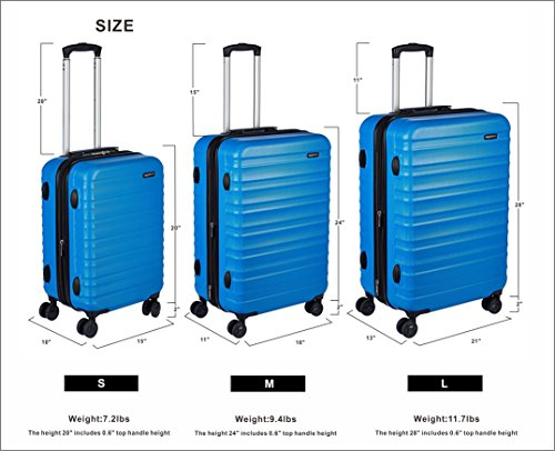 AmazonBasics Hardside Carry On Spinner Travel Luggage Suitcase - 20 Inch, Blue